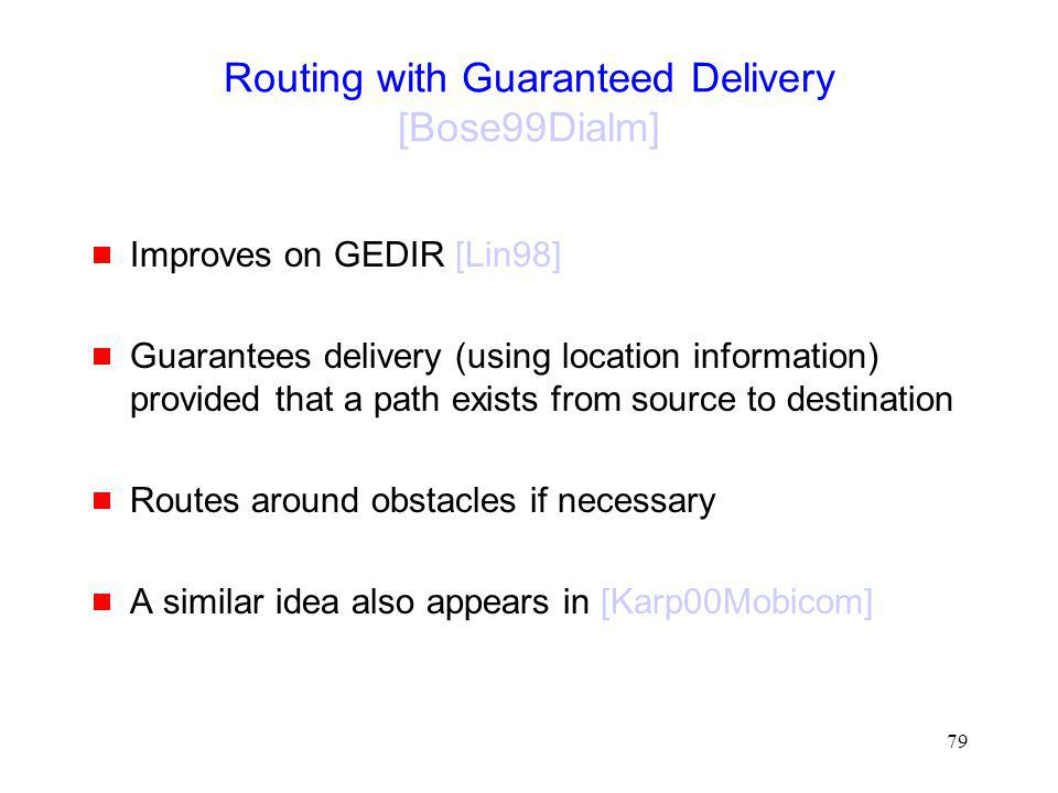 Routing with Guaranteed Delivery [Bose99Dialm]